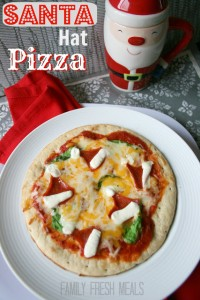 DIY Santa Hat Christmas Pizza