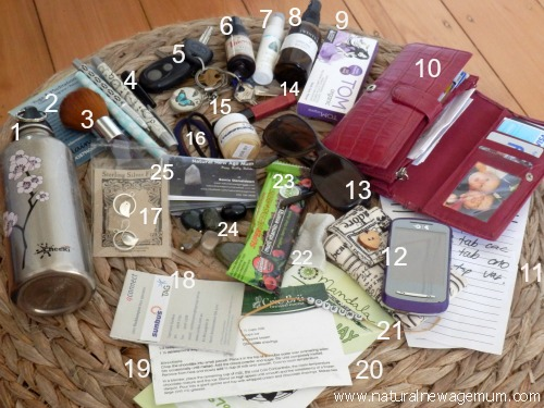 What's in a natural, new age mum's handbag?