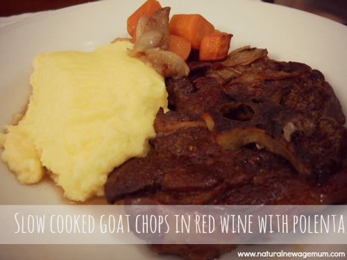 Slow roasted goat chops in red wine with polenta