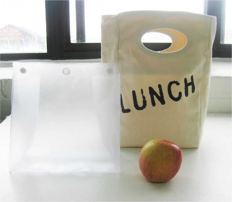 lunch bag with inner and apple on bench