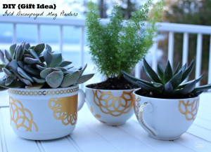 DIY-Gift-Idea-gold-decoupaged-mug-planters-with-succulents-at-thehappyhousie-MSholiday-1024x742