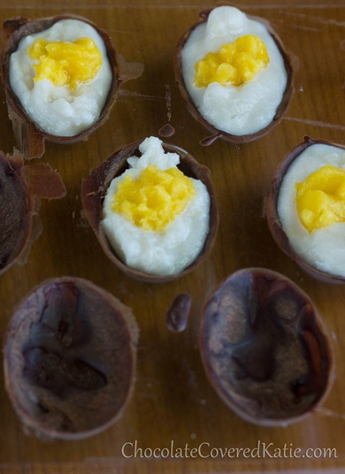 Healthy Homemade Easter Eggs - Creme Eggs from Chocoalte Covered Katie