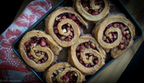 Rhubarb and Raspberry Roly Poly by Well Nourished