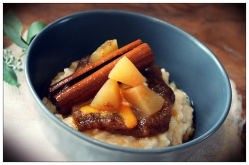 Rice Pudding with Pear and Prune Compote by Mamacino