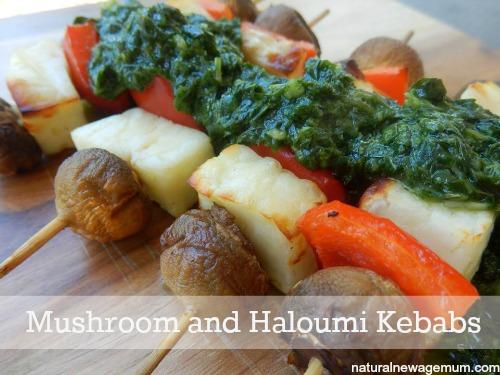 Mushroom and Haloumi Kebabs