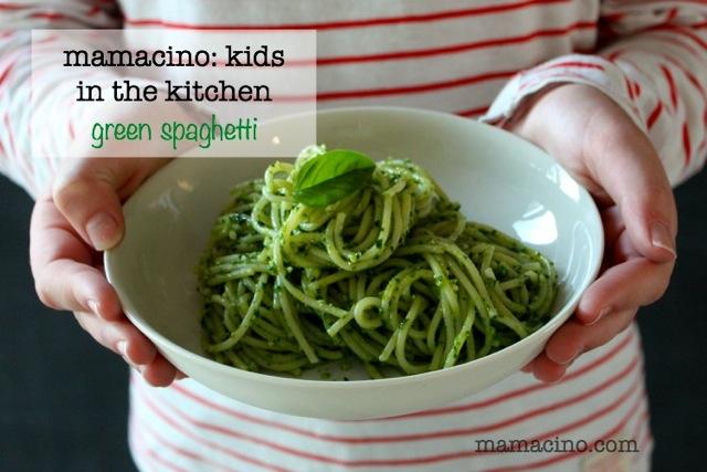 Kids in the Kitchen + Green Spaghetti