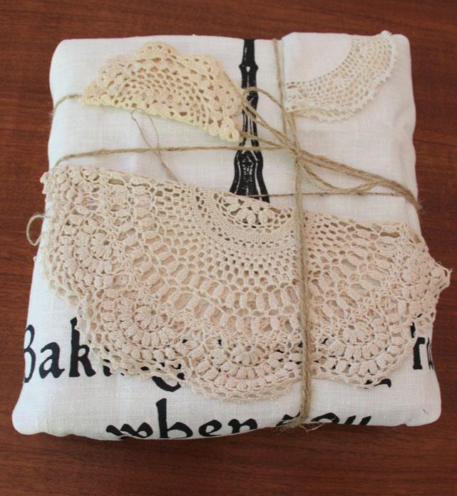 Tea Towel Wrapped Gift